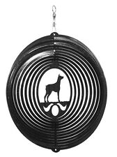 Swen Products Doberman Pinscher Dog Circle Swirly Metal Wind Spinner