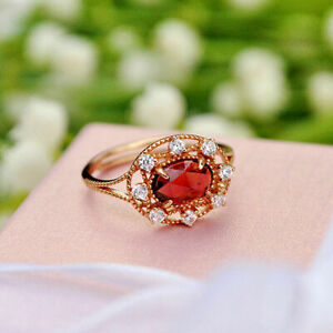 2Ct Oval Cut Red Ruby Halo Unique Women's Engagement Ring 14K Yellow Gold Finish