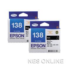 2x Epson #138 Genuine High Capacity Black INK=>WF-3520/WF-3530/WF-3540 T138194