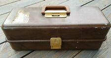 Vintage Umco 173W Fishing Tackle Box Brown Wood Look 3 Tray Works Well ~ Clean