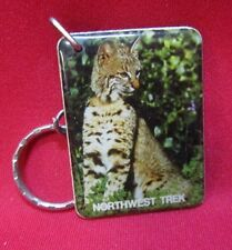 Vintage Northwest Trek Bobcat Plastic Keychain Key Ring