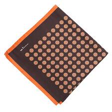 New $215 KITON Chocolate Brown and Orange Medallion Print Silk Pocket Square