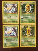 Weedle Kakuna Base Set 2 Pokemon Cards 100/130 47/130 WotC 2000 Lot Of 4