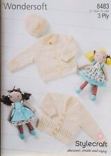 """Stylecraft Knitting Pattern 8483 Baby Lacy Cardigans Hat 3 Ply 12-22"""" Premature"""