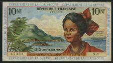 French Antilles 1964, 10 Francs, P8a, Signature 1, VF