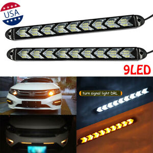 Car LED Amber/White Switchback Flowing Strip Arrow Flasher DRL Turn Signal Light