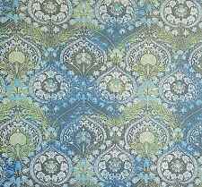 Golden D'Or Fabric Semi Sheer Aqua Teal Green Blue Hearts Floral Polyester BTY