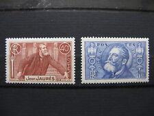 FRANCE neufs  n° 318 et 319 JEAN JAURES  avec traces de charnières