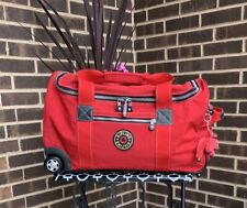 "Kipling Madison 22"" Wheeled Duffle Bag Carry On Luggage Red Mint Condition"