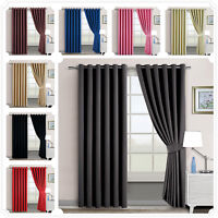 Blackout Ring Top Thermal CurtainS Pair Energy Saving Eyelet Ready made Curtains