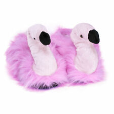Flamingo slippers adults children novelty mules character animal pink plush