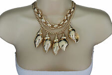 Women Fashion Necklace Gold Metal Chain Big Sea Shells Pendant Jewelry + Earring