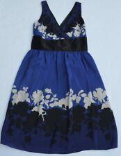 NWT Nine West Dream Time:Blue/Black/White Sleeveless 100% Silk Lined Dress Sz 6