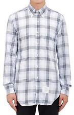 NWT Mens THOM BROWNE Blue White Plaid Flannel Shirt sz 3 L