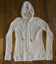 Athleta Hoodie Crochet Knit Zip Up Sweater Shoreline Creme Women's Size Small