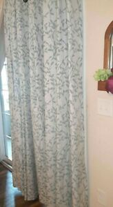 "Set of 4 Martha Window Curtain Panels Linen Grommet 50"" x 84"" Floral Leaf Lined"