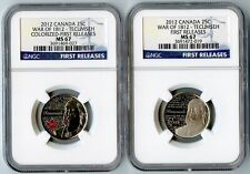 2012 CANADA NGC FIRST RELEASES MS67 COLORIZED & FROSTED TECUMSEH 25C SET!