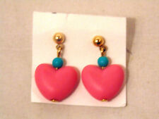 Heart Earrings Pierced Pink Blue Puffed Dangle Valentines Mothers Day Gift
