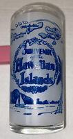 "Vintage Souvenir of Hawaiian Islands Frosted Glass  White Blue 4 3/4"" Tiki Bar"