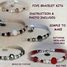 C / FIVE SUEDE HEART CHARM BRACELET KITS CRYSTAL BEADS JEWELLERY CRAFT MAKING/ 2