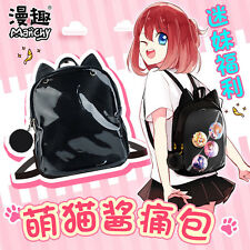 Japanese Sweet Lolita Kawaii Neko Harajuku Black Backpack Cos Book Bag Moe#QN393