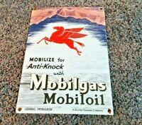 VINTAGE MOBIL MOBILGAS PEGASUS PORCELAIN SERVICE STATION GAS OIL PUMP SIGN