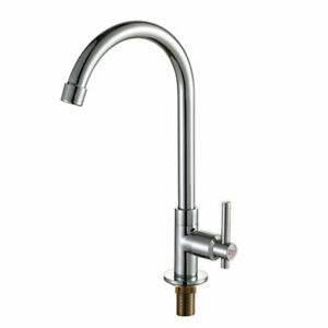 Kitchen Swivel Spout Sink Basin Cold Water Tap Single Lever Steel Faucet NEW