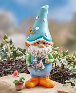 "Whimsical ""Gnorm The Garden Gnome"" Holding Watering Can Garden Statue"