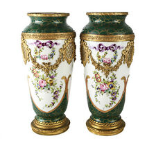 Pair of Sevres France Hand Painted Porcelain & Gilt Bronze Vases/Urns, c.1900