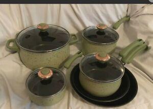 Set of 10 Paula Deen Porcelain Non-Stick Gourmet Cookware Pots, Pans & Lids
