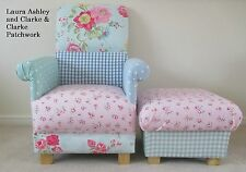 Laura Ashley Gingham Fabric Chair & Footstool Patchwork Pink Blue Armchair Spots