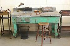 Vintage Antique Industrial Table Kitchen Island Workbench Steel Factory Desk