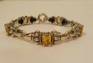 "Lagos CAVIAR Sterling Silver 7.5"" Bracelet, 5 Citrine Stations, 18 K Gold Trim"