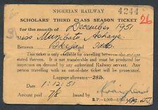 QY4073t NIGERIA 3rd cl Scholars season Ikeja - Iddo 1951