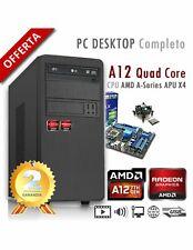PC AMD APU A12 X4 9800 Quad Core/Ram 8GB/Hd 1000GB (1TB)/PC Assemblato Completo