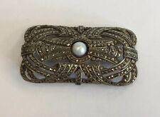 "Pearl Set Art Deco Brooch 17.4g Vintage Solid ""800� Silver Marcasite &"