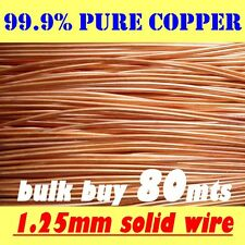 80mts BULK Solid Bright Copper Wire 1.25mm 18g SWG 16g AWG Postage