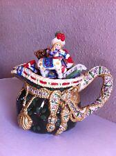 Studio Nova Ceramic Christmas Toys Woodland Holly Santa TEA POT Lid 28oz EUC
