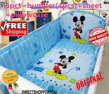 Disney Mckey Mouse Crib Sheet Baby Bedding Cot Set 6 Pcs Nursery Boy Girl Infant