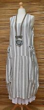 """LAGENLOOK BEAUTIFUL STRIPED 2 POCKETS LONG DRESS*GREY/WHITE*L-XL BUST UP TO 48"""""""