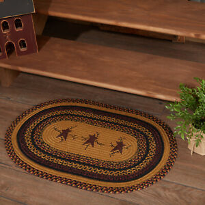 """VHC Brands Primitive 20""""x30"""" Star Pip Accent Rug Yellow Thanksgiving Floor Decor"""