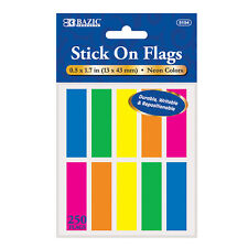 Bazic Products Stick On Flags Assorted Neon Colors 250 Count #5154
