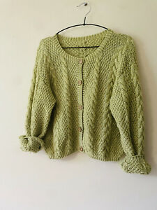 Vintage Hand Knit Cardigan Chunky Cropped