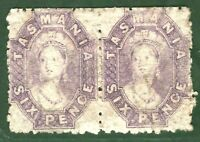 Australia States TASMANIA Chalon SG.75 6d (1865) Pair Mint MM Cat £950+ GOLD32