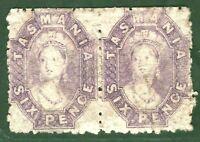 Australia States TASMANIA Chalon SG.75 6d (1865) Pair Mint MM Cat £950+ GOLD32