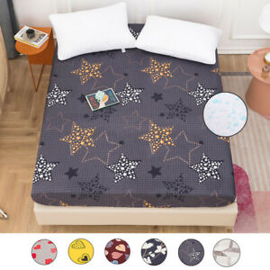 """18"""" Deep Pocket Waterproof Mattress Protector Print Bed Fitted Sheet Breathable"""