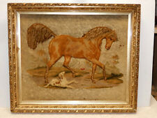 Antique Hand Embroidery Horse And Dog Stump Plush Work Work Circa 1860