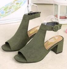 Women's Low Heel Peep Toe Buckle Mule Sandals Ladies Open Back Strap Ankle Shoes