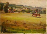 Russian Ukrainian Soviet Oil Painting impressionism village panorama horse