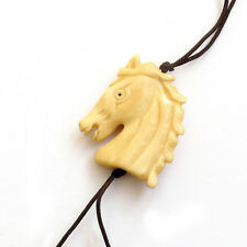 Tibet Bone Happy Lucky Chinese Zodiac Horse Amulet Pendant Bead